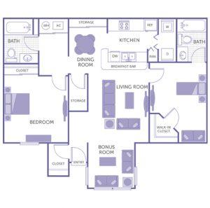 2 bed 2 bath floor plan, kitchen, dining room, living room, bonus room, 1 walk-in closet, 2 closets, 2 storage closets, washer and dryer in unit