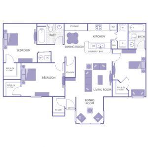 2 bed 2 bath floor plan, kitchen, dining room, living room, bonus room, 3 walk-in closets, 1 closet, 2 storage closets, washer and dryer in unit